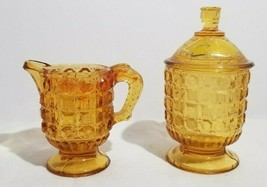 Vtg John E Kemple Amber Glass Waffle & Button Child's Creamer & Covered ... - $24.25