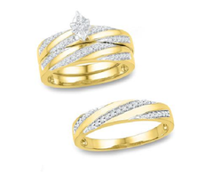 Simulated Diamond Trio Bridal ring Set 14k White Gold Finish 925 Sterling Silver - $149.33