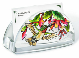 Cascading Fuchsia Business Card Holder Pink Flowers Green Leaves Acrylic... - $16.48