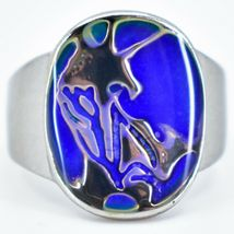 Silver Painted Abstract Design Color Changing Contrasting Mood Ring image 4