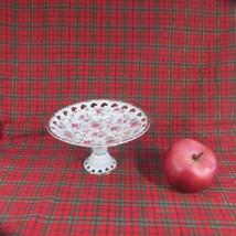 Vintage Lefton China Rose Chintz Pedestal Base Reticulated Candy Dish - $11.29
