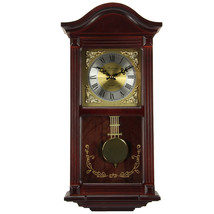 Bedford Clock Collection 22 Inch Wall Clock in Mahogany Cherry Oak Wood with Bra - $119.26