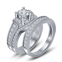 14k White Gold Finish 925 Sterling Silver Round Cut CZ Trio Engagement Ring Set - $150.80