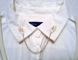 Gold Oak Leaf Collar Pins Gold Leaf Sweater Pins Gold Collar Chain Oak L... - $36.00