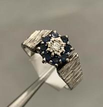 Sapphire Ring Platinum Cluster Ring Diamond BHS - $406.63