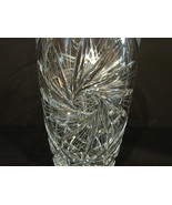 "American Brilliant Period Cut Glass 9"" Crystal Vase w/ Pinwheel Pattern - $80.00"
