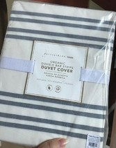 Pottery Barn Teen Double Bar Stripe Duvet Cover Ivory Queen 2 Standard S... - $148.00