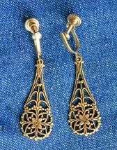 Elegant Victorian Style Gold-tone Drop Screw-on Earrings 1960s vintage 1... - $12.30