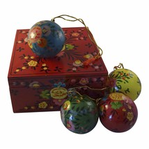 4 Paper Mache Holiday Ornaments w Keepsake Box Handcrafted Hand Painted... - $44.55