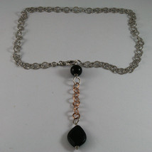 .925 SILVER RHODIUM AND ROSE GOLD PLATED NECKLACE WITH BLACK ONYX & ROUND MESH image 2