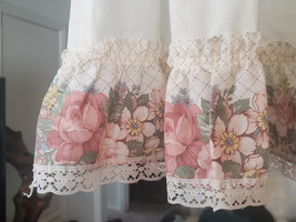 Vintage Cafe Curtains - Pink Roses, Lace, Ruffles, Romantic, Farmhouse, ... - $45.00