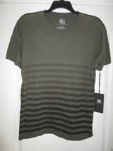 Rock& Republic Front Back Allover Stripes Crewneck SSLV Men TShirt Olive... - $12.36