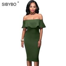 Sibybo Off Shoulder Dress Summer Short Sleeve Ruffle Ladies Dresses 2018... - $35.44+