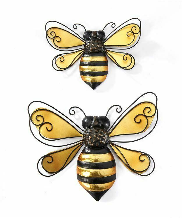 Set of 2 Iron Bumblebee Indoor Outdoor Wall Decor Black & Gold Bumble Bee Gift