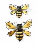 Set of 2 Iron Bumblebee Design Indoor Outdoor Wall Decor Black & Gold - $44.54