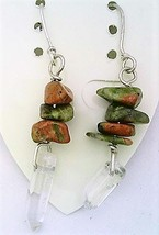 Unakite Gemstone Nuggets And Crystal Silver Wire Earrings - $13.39