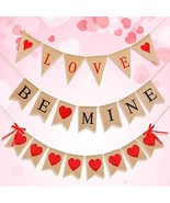 Valentine's Day Burlap Banner Set, Love and Be Mine Banners, Red Glitter Heart B - $22.87