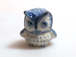 Vintage Figurine Porcelain Miniature Collectible Ceramic Blue Owl Bird Z... - $3.47