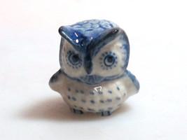 Vintage Figurine Porcelain Miniature Collectible Ceramic Blue Owl Bird Z... - $3.47