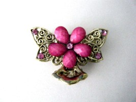 Gold Tone Metal Hair Claw Clip Pink Stones New  - $9.85