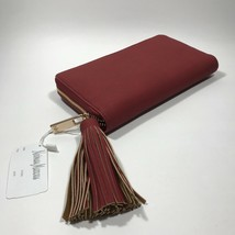 Neiman Marcus Matte Pebbled Zip Around Wallet With Tassel.Red  - $41.99