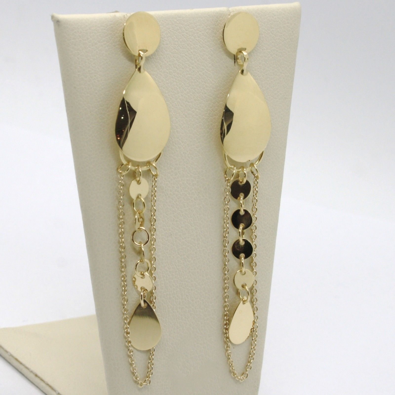 SOLID 18K YELLOW GOLD LONG PENDANT EARRINGS WITH DROPS ROLO CHAIN, MADE IN ITALY