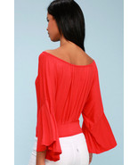 Last Time Red Hot Surplice Bell Sleeve Crop Top Free People - XS Amazing... - $50.00