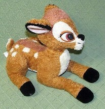 "11"" Disney Store BAMBI Plush Stuffed DEER Curly Tan Brown Ivory Laying Down Toy - $17.82"