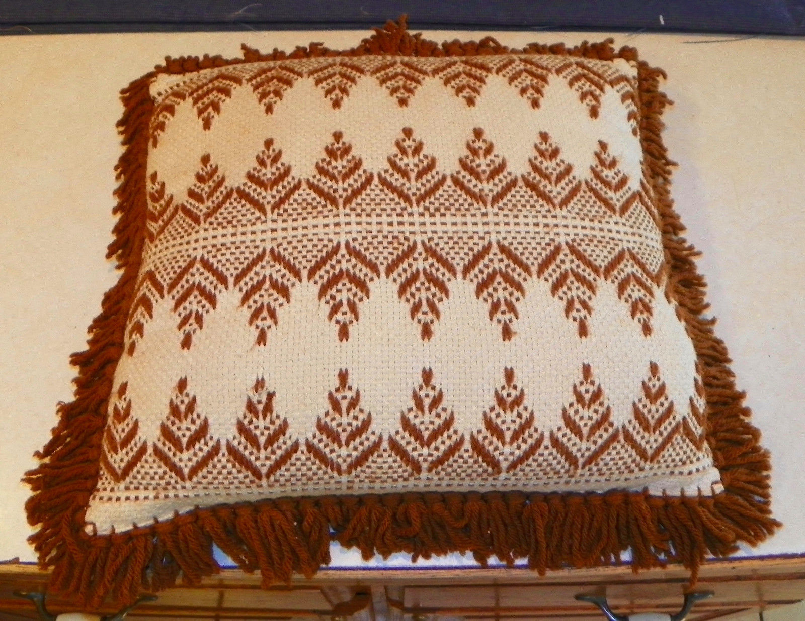 Brown Beige Print Latch Hook Decorative Pillow  16 x 16 - $39.95