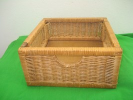 Vintage Square Hand Woven Basket Display Storage Piece Wooden Base - $16.79