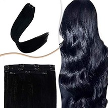 RUNATURE 14 Inch Clip in Hair Extensions Jet Black #1 Real Human Hair Double Wef - $43.21
