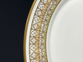 """Retired Mikasa Lacerna 10"""" Bone China Dinner Plate-Gold Silver Green-8 A... - $11.88"""
