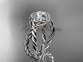 Rope pattern engagement ring, 14kt white gold diamond rope engagement ri... - $1,325.00