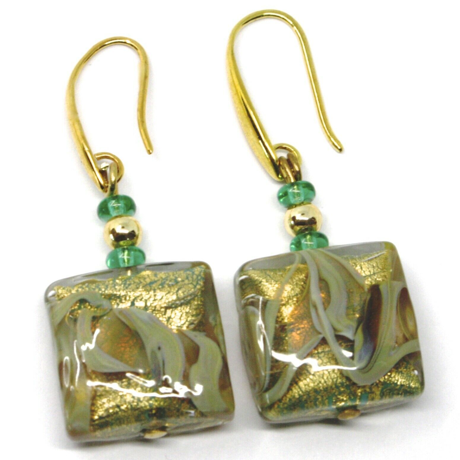 PENDANT EARRINGS WITH GREEN MURANO SQUARE GLASS WITH GOLD LEAF, MADE IN ITALY