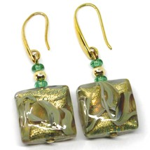 PENDANT EARRINGS WITH GREEN MURANO SQUARE GLASS WITH GOLD LEAF, MADE IN ITALY image 1