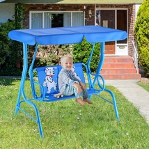Outdoor Kids Patio Swing Bench with Canopy 2 Seats - £82.69 GBP