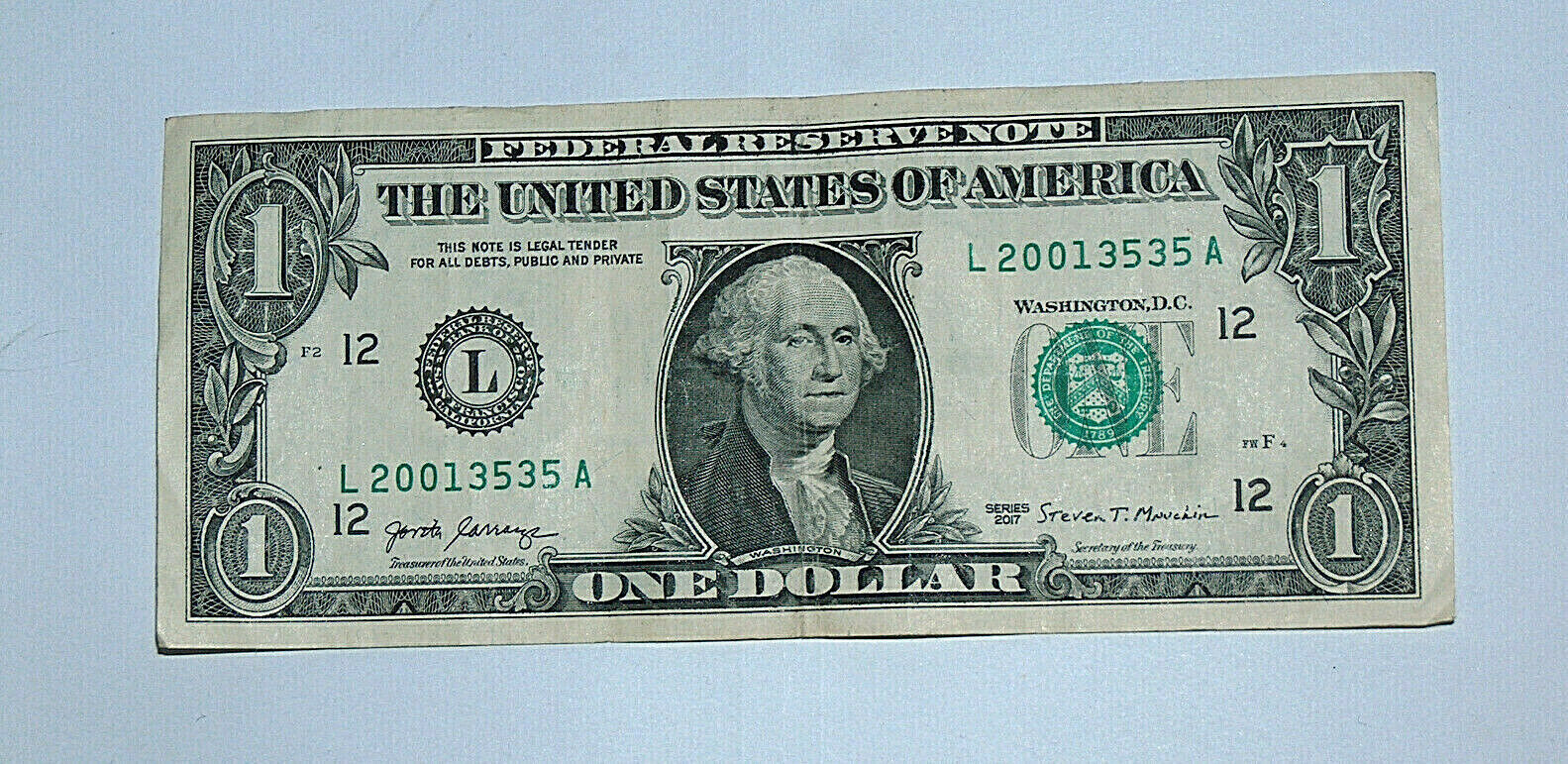 2017 $1 Bill US Bank Note Date Birthday Year Repeat 35 2001 3535 Fancy Serial #