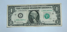 2017 $1 Bill US Bank Note Date Birthday Year Repeat 35 2001 3535 Fancy S... - $14.83