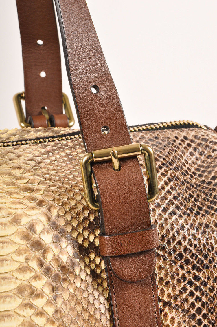 "Chloe Brown Cream ""Gabby"" Mixed Snakeskin Duffel Bag"