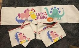 Unicorn Dinosaur Table Runner Cloth New Set Placemats Pom Fringe Animals - $24.75