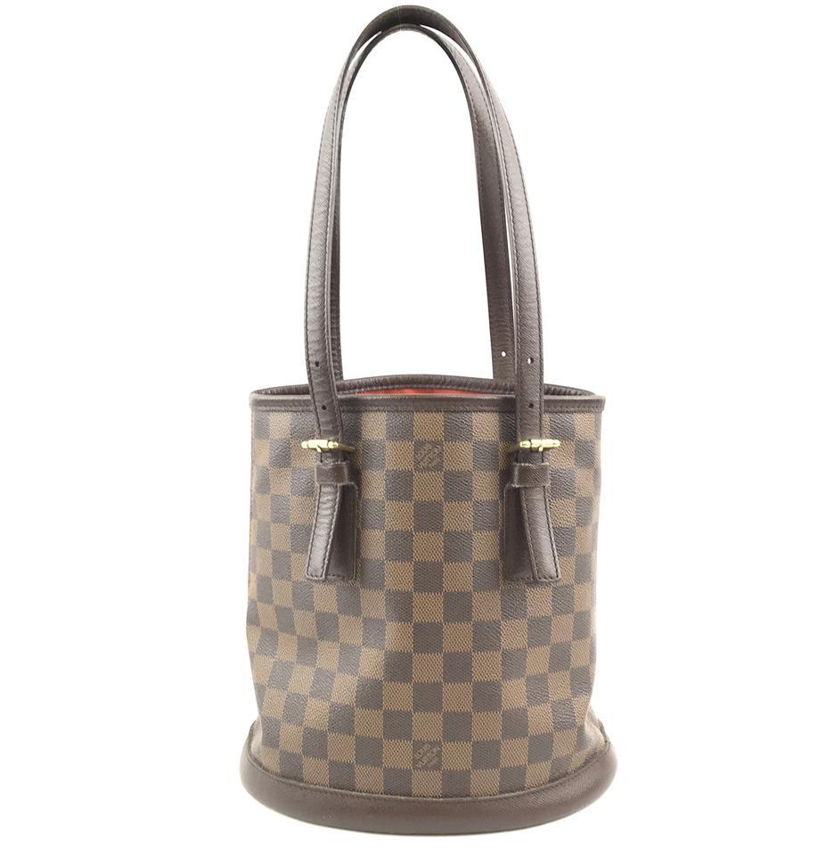 #31746 Louis Vuitton Bucket Marais Hobo Pm Tote Damier Ébène Canvas Shoulder Bag
