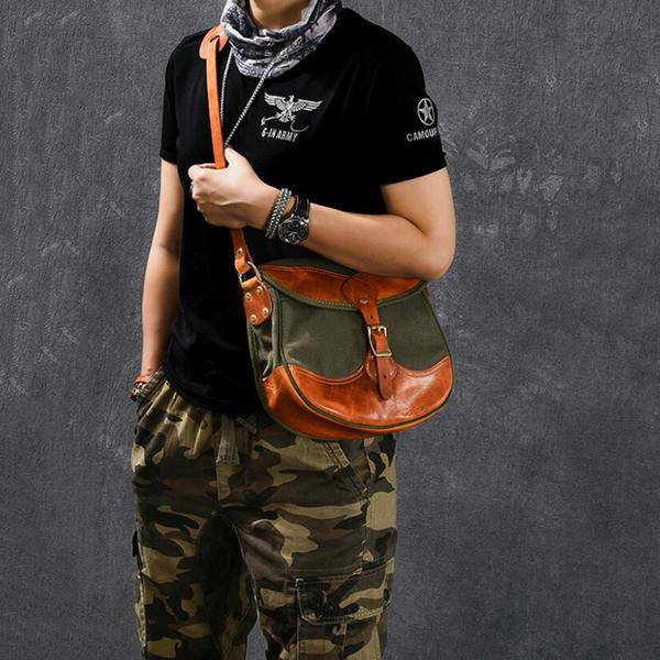 On Sale, Canvas With Vegetable Tanned Leather Messenger Bag, Shoulder Bag, Cross image 6