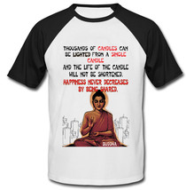 Buddha Happiness Quote - New Cotton Baseball Tshirt - $26.88