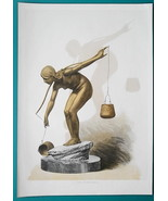 NUDE Bronze Statue Young Girl Water Carrier  - VICTORIAN Era Color Print - $12.60