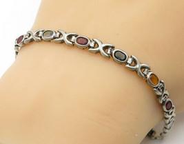 925 Silver - Vintage Citrine Garnet Topaz & Amethyst Chain Bracelet - B6813 - $35.62