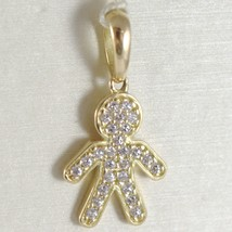 Yellow Gold Pendant 750 18k, Child, Kid along 2.3 cm Zirconia Made in Italy image 1