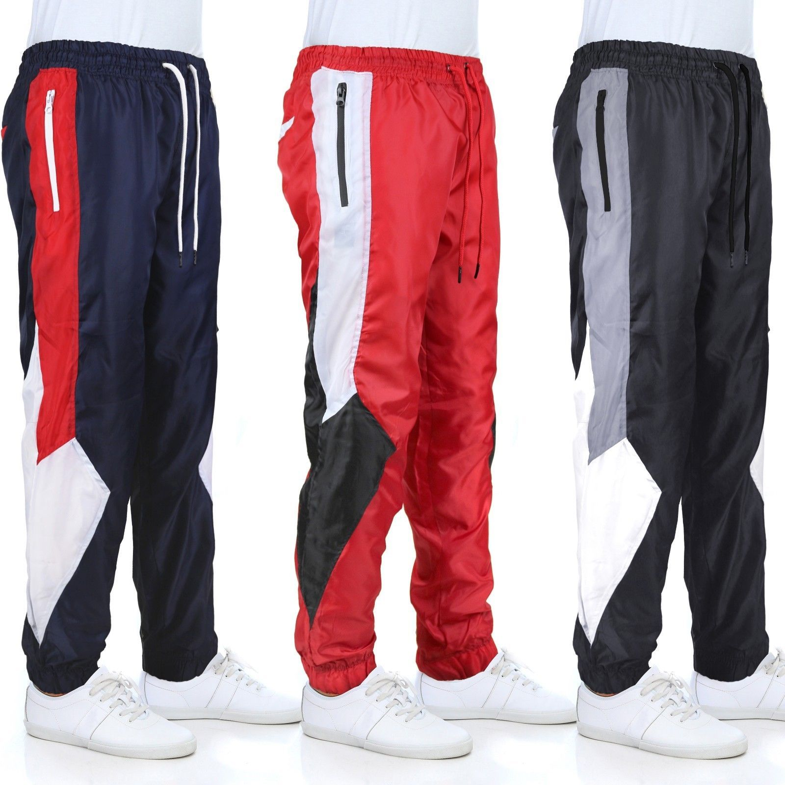 LR Men's Retro Urban Lightweight Athletic Casual Striped Gym Track Sweat Pants