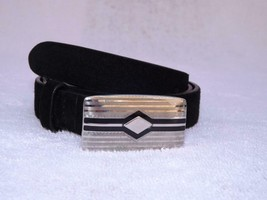 RALPH LAUREN COLLECTION SUEDE BELT SILVER BLACK BUCKE ITALY SZ S NWT $595 - $268.17