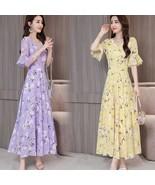 Women Summer Slim Leisure Waist Horn-Sleeve Floral Dress yellow_XXL - $21.97