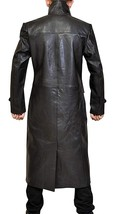 Mens Long Length Welling Smallville S9 Trench Leather Coat image 3
